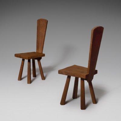 French handcrafted oak side chairs