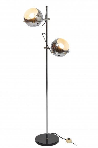 Gepo chromed floor lamp with adjustable shades, 1970s