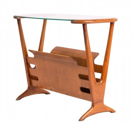 Cassina Side Table with Magazine Holder by Cesare Lacca