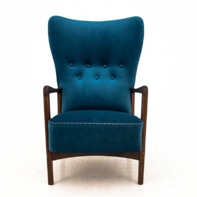 Danish navy blue armchair, 1960s