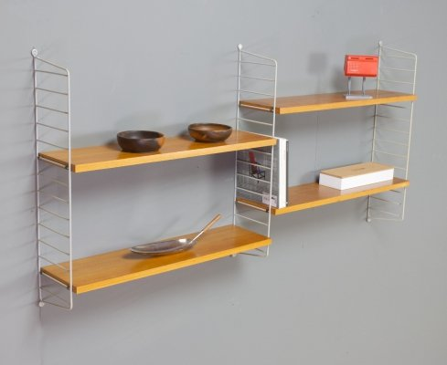 Modular String Shelving unit in Birch & grey brackets, 1960s