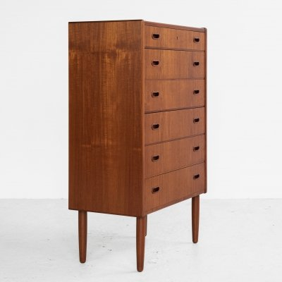 Midcentury Danish chest of 6 drawers in teak with 2 handles, 1960s