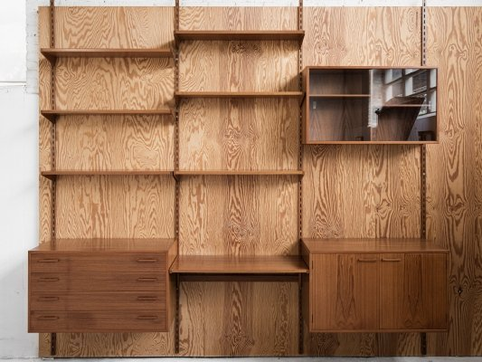 Midcentury wall system in teak by Kai Kristiansen for FM Denmark, 1960s