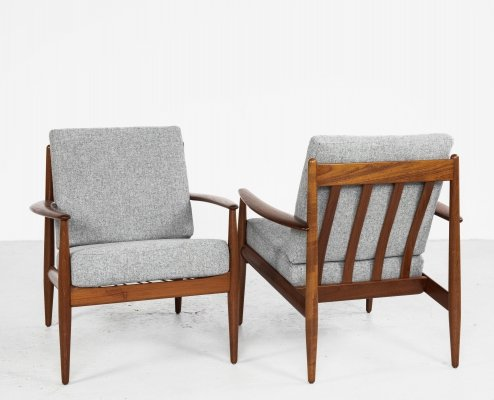Midcentury Danish pair of easy chairs in teak by Grete Jalk for France & Søn