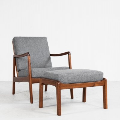 Midcentury Danish easy chair + ottoman in teak by Ole Wanscher for France & Søn