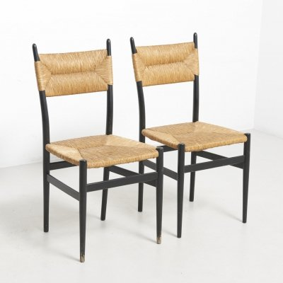 Pair of Chairs with Rush Seat & Back, 1960's