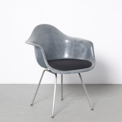 Anthracite grey blue DAX chair by Charles & Ray Eames for Herman Miller