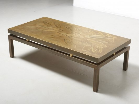 Low Table in Etched Brass, 1970's