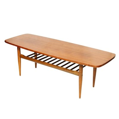 Scandinavian 'Dachshund' sofa table / coffee table, Poland 1960s