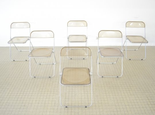 Set of 6 Castelli lucite Plia chairs by Giancarlo Piretti, 1980s