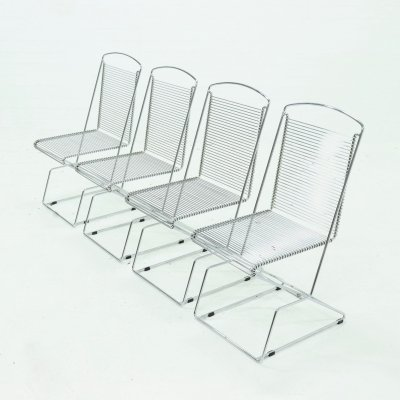Set of 4 Chromed Wire Steel Dining Chairs, 1980s