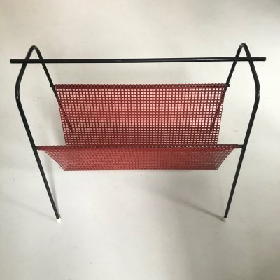 Red perforated magazine rack by Tjerk Reijenga for Pilastro, 1950s