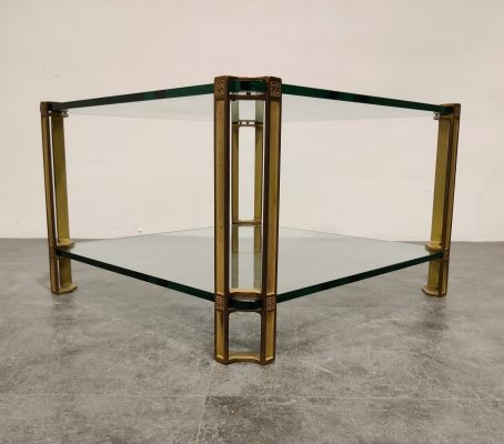 Peter Ghyczy T24 Pioneer Glass & Cast Brass Square Coffee or Side Table