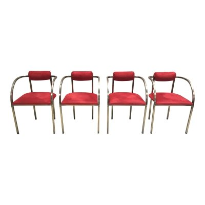 Set of 4 brass & velours art deco yacht chairs, USA 1970s