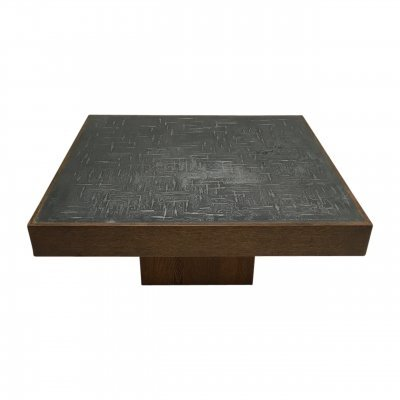 Brutalist etched zinc & wood coffee table by Bernhard Rohne, 1960s