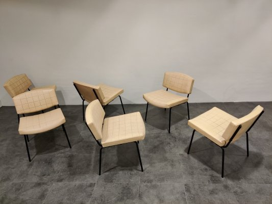 Set of 6 Vintage Conseil Chairs by Pierre Guariche, France 1950's