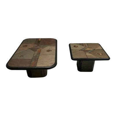 Stone & brass mosaic coffee tables by Anthony Paul Kingma, 1980s