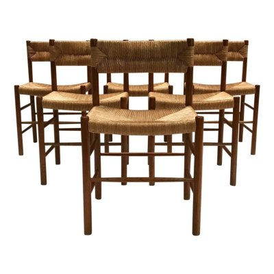 Set of 6 Dordogne dining chairs by Charlotte Perriand for Robert Sentou, 1950s