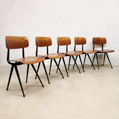 Set of 5 industrial Dutch design 1st edition Result school chairs by Friso Kramer, 1950s