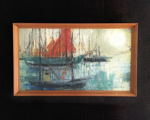 Original Signed Art Painting 'Marina' Boating scene, Belgium 1960's