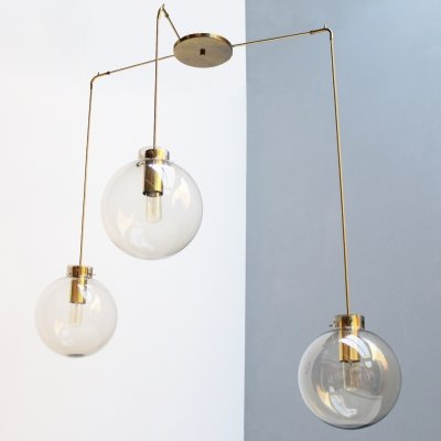 Fixture with three smoked glass spheres by Jonas Hidle for Høvik Lys
