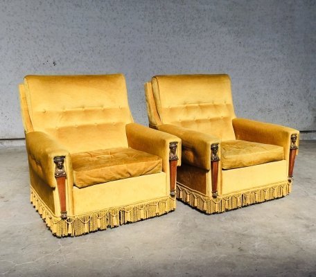 Set of 2 Empire Style Gold Velvet Arm Chairs, France 1950's