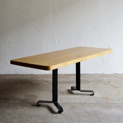 Pine & metal base SAM dining table by Charlotte Perriand for the La Nova Residence, Les Arcs 1978