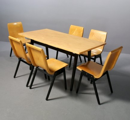 Set of 6 Stadthallenstuhl + table by Roland Rainer, 1950s