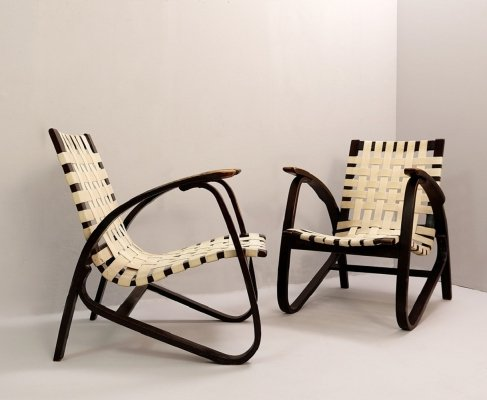Pair of Lounge Chairs by Jan Vaněk for UP Závody, Czech 1930s