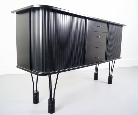 Hairpin-based Ebonized Horizontal Rolltop Highboard by Denka Denmark, 1970s