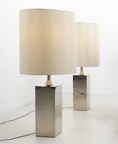 Pair of Large Floor Lamps, France 1970's