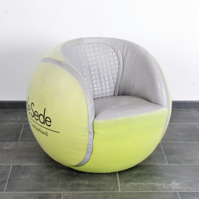 Iconic vintage leather & fabric De Sede DS9100 Tennis ball chair, 1980s
