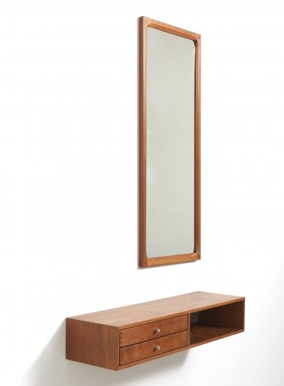 Wall Mount Cabinet With Mirror by Kai Kristiansen, Denmark 1960's