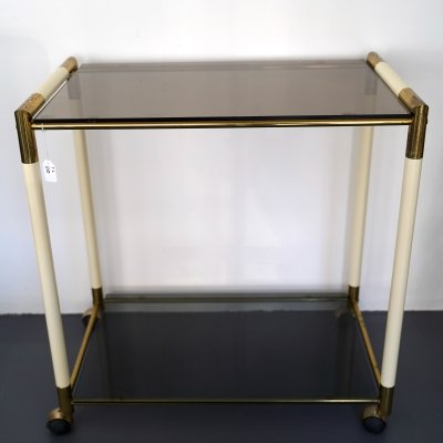 Vintage Italian two shelves brass & lacquer trolley or bar cart by Tommaso Barbi, 1970s