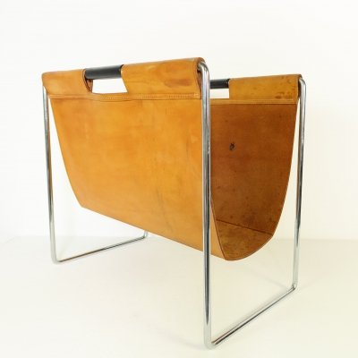 Brown leather magazine rack by Brabantia, 1960s