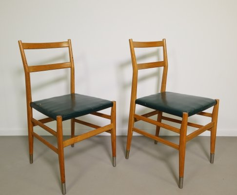 Rare set of 2 Bijenkorf leggera chairs by Gio Ponti for Cassina, 1969