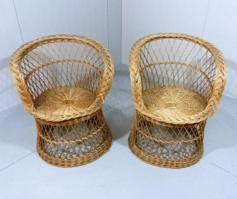 Set of 2 Rattan Chairs, 1970's