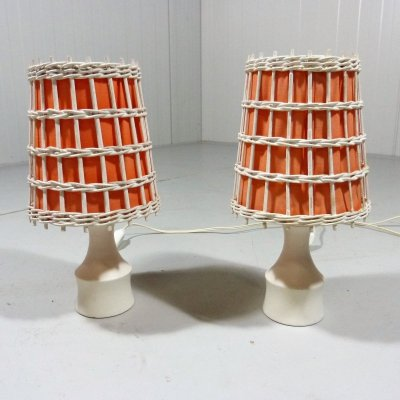 Set of 2 small table lamps / bedside lamps, 1960's