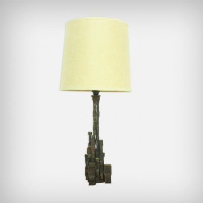 Huge Brutalist Brass & Fabric Desk Lamp, 1970s