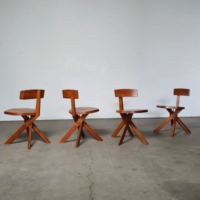 Model S34 Dining chairs by Pierre Chapo, 1960s