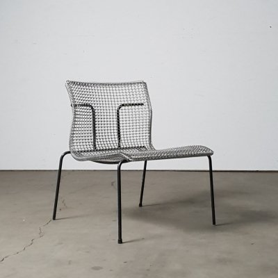 Rare Wire chair with dark grey frame by Niall O'flynn for Spectrum, 1990s