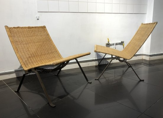 Early Pair of 'PK22' Easy Chairs by Poul Kjærholm for E. Kold Christensen, 1950s