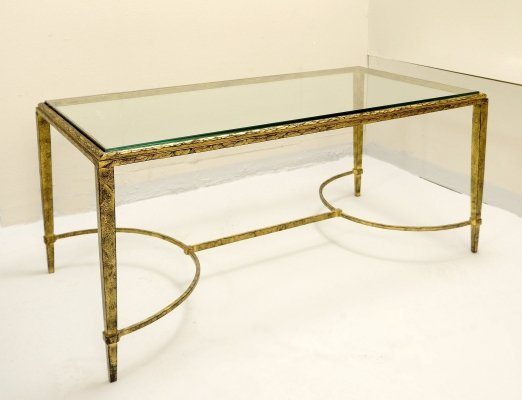 Coffee Table by Maison Bagues in Glass & Brass, 1960s