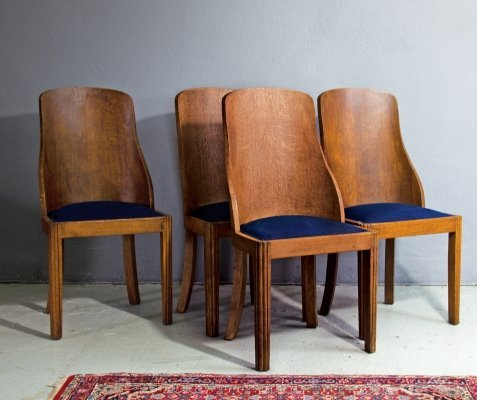 Set of 4 Art Deco Dining Chairs, 1930s