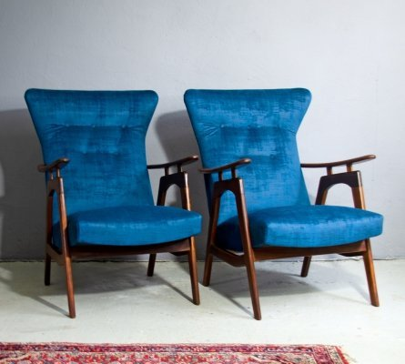 Pair of Louis Van Teeffelen Armchairs for Webe, 1950's