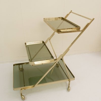 Silver tea trolley with detachable Serving Trays, 1960s