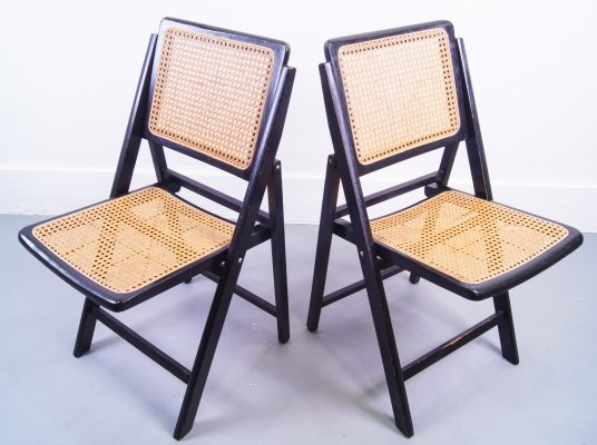 Pair of Ebonized Gilles Cane Folding Chairs, 1960's