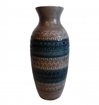 West Germany Vase in Blue & Grey, 1970s