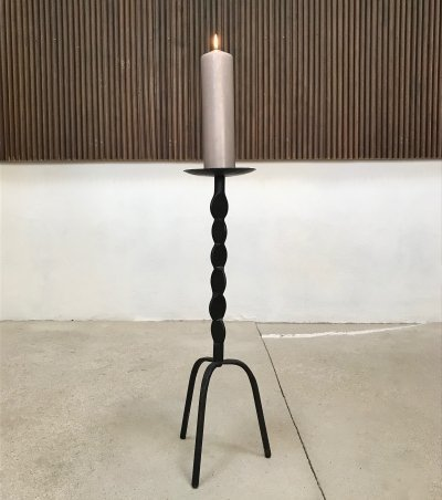 German Large Wrought Iron Tripod Candleholder, 1960s