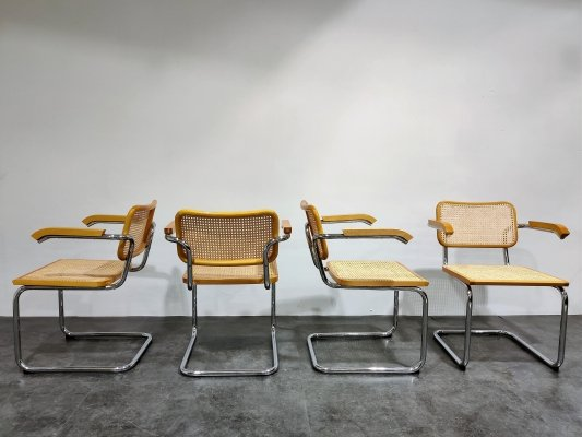 Set of 4 Vintage Marcel Breuer Cesca B64 chairs by Fasem, Italy 1970s